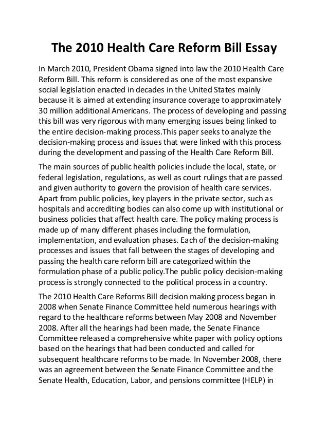Persuasive essay on health care reform argumentative essay
