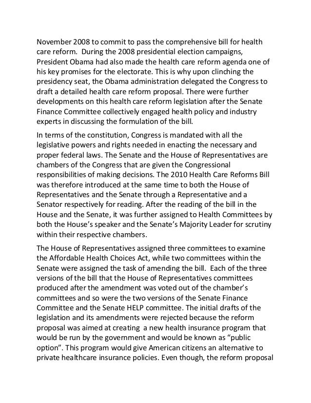 essay about obama health care Obama's health care bill: reform in america's health care president barrack obama, after the historic occasion and fete of being sworn in as america's 45th.