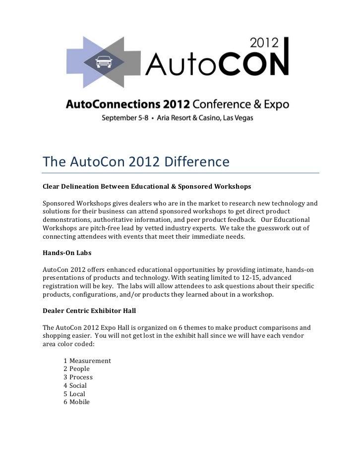 TheAutoCon2012DifferenceClearDelineationBetweenEducational&SponsoredWorkshopsSponsoredWorkshopsgivesdealer...