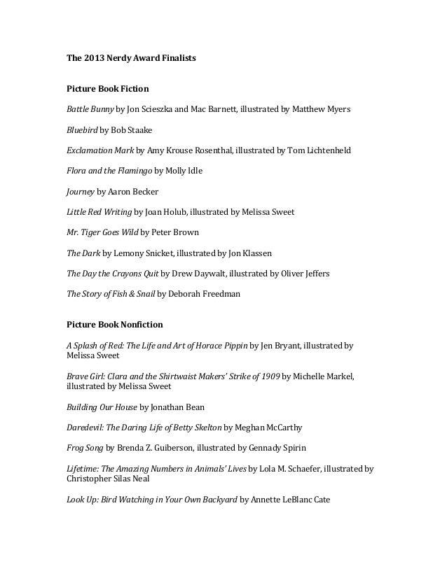 The 2013 nerdy award finalists