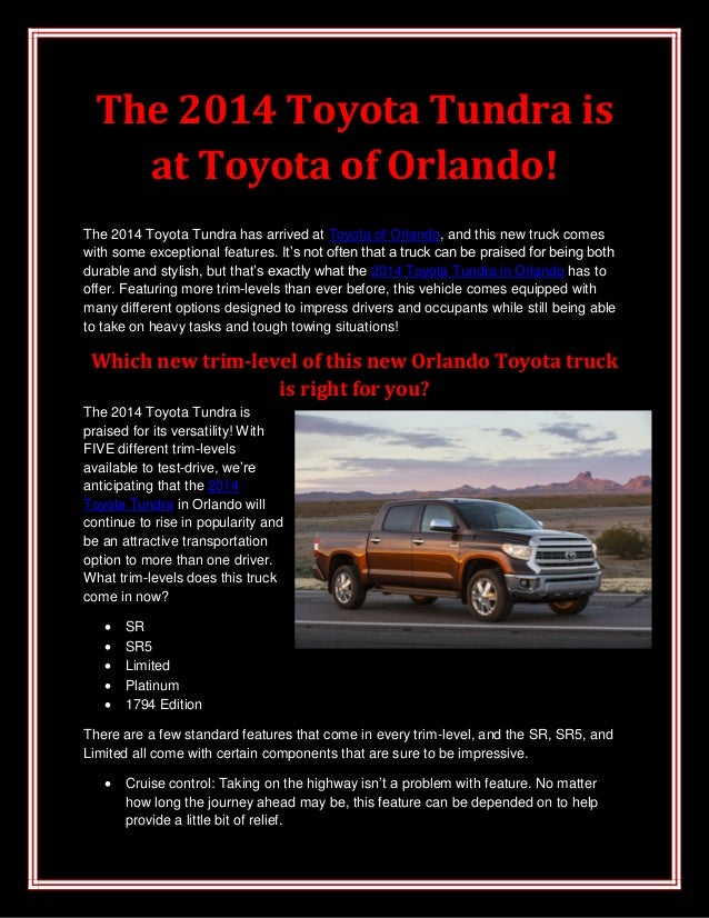 The 2014 Toyota Tundra is at Toyota of Orlando! The 2014 Toyota Tundra has arrived at Toyota of Orlando, and this new truc...