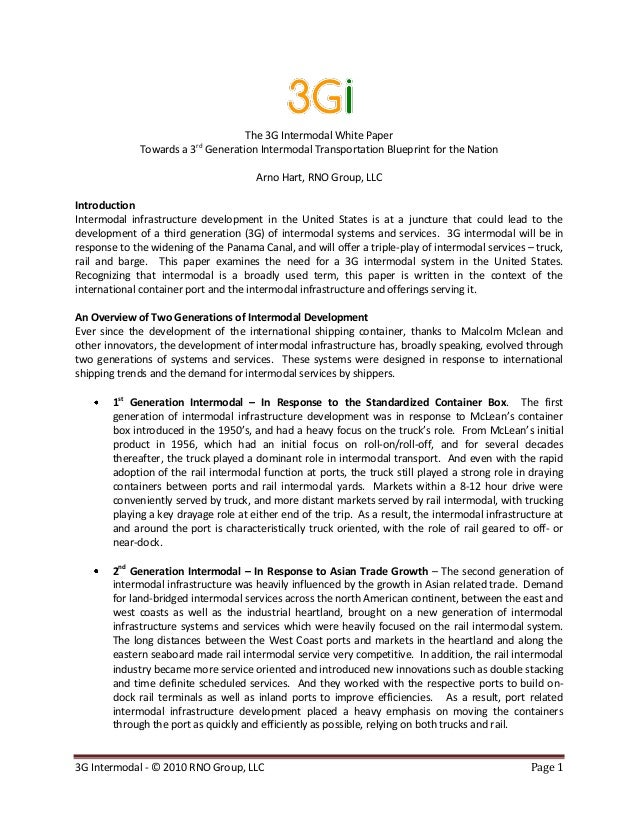 3G Intermodal - © 2010 RNO Group, LLC Page 1 The 3G Intermodal White Paper Towards a 3rd Generation Intermodal Transportat...