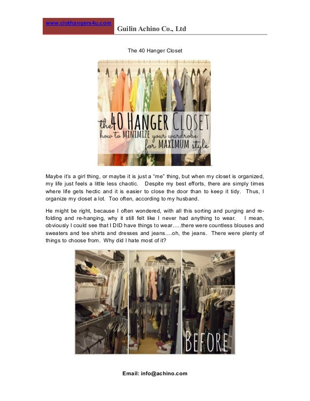 """www.clothangers4u.com Guilin Achino Co., Ltd The 40 Hanger Closet . Maybe it's a girl thing, or maybe it is just a """"me"""" th..."""