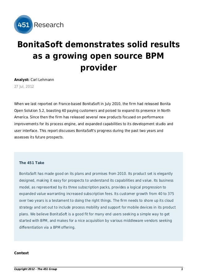 The 451 Group Research Report on BonitaSoft