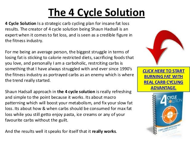 The 4 Cycle Solution4 Cycle Solution Is a strategic carb cycling plan for insane fat lossresults. The creator of 4 cycle s...