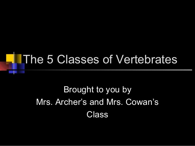 The 5 Classes of VertebratesBrought to you byMrs. Archer's and Mrs. Cowan'sClass