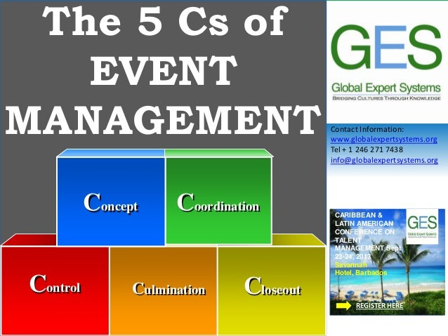 Contact Information: www.globalexpertsystems.org Tel + 1 246 271 7438 info@globalexpertsystems.org The 5 Cs of EVENT MANAG...