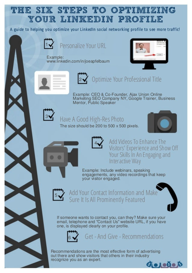 THE SIX STEPS TO OPTIMIZING YOUR LINKEDIN PROFILE Personalize Your URL Example: www.linkedin.com/in/joeapfelbaum Optimize ...