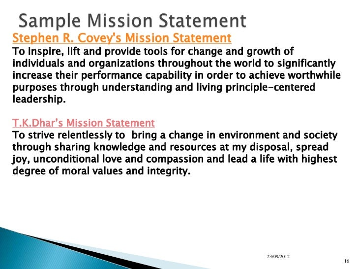 personal mission statement 7 habits