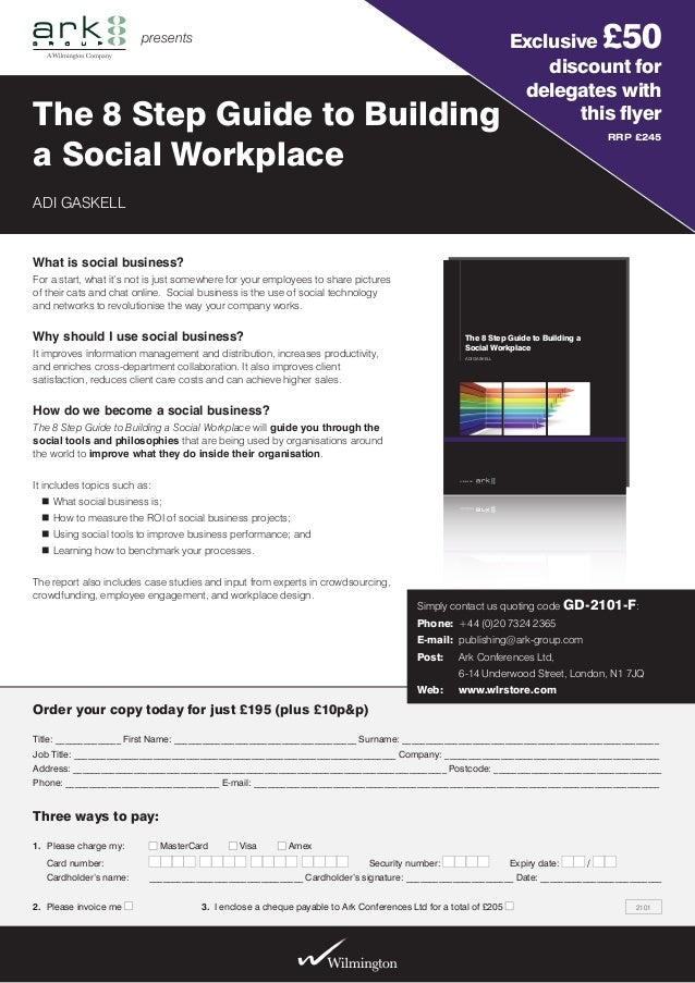 Flyer for the 8 Step Guide to Building a Social Workplace