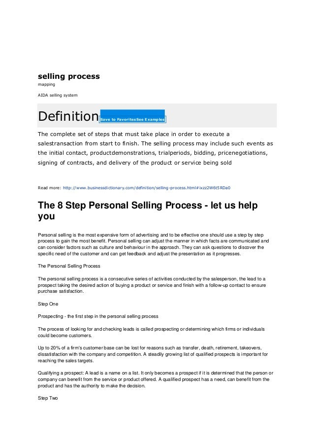 The 8 step personal selling process. process of selling
