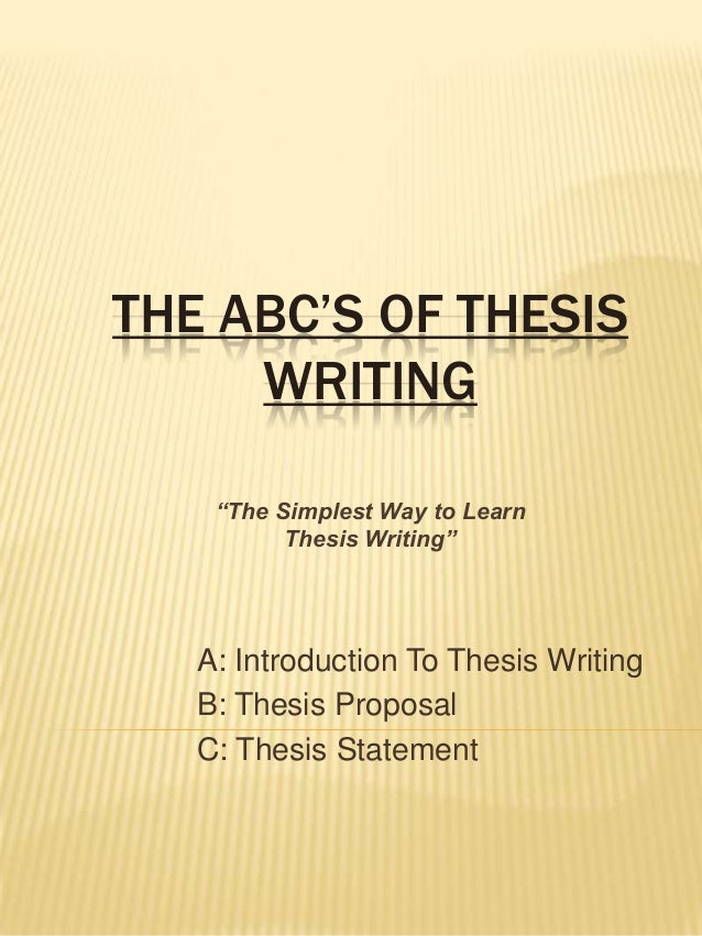 Help with writing a thesis