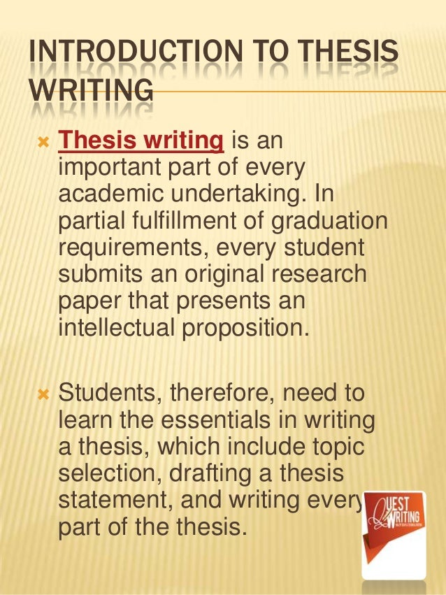 writing the introduction of a thesis paper Paper title thesis statement (your thesis) so an introduction gives an overview of the topic and remember that a good outline makes writing easier and more.