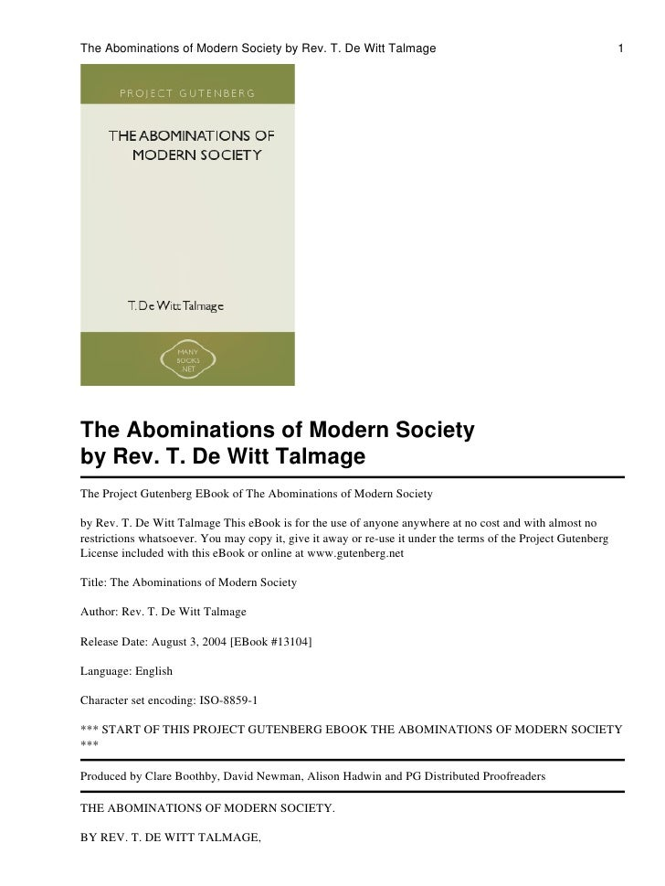 The Abominations of Modern Society by Rev. T. De Witt Talmage                                                  1The Abomin...