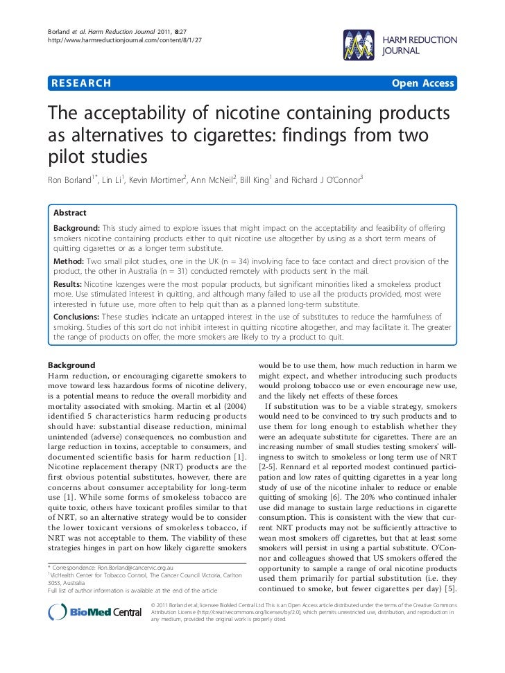 The acceptibility of nicotine products two pilot studies