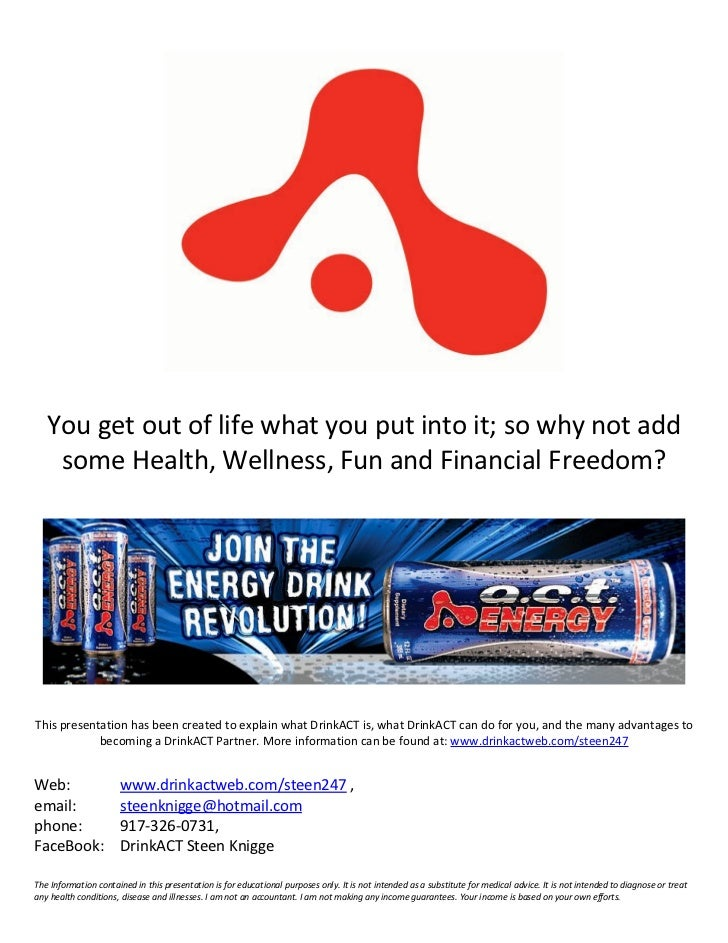 You get out of life what you put into it; so why not add    some Health, Wellness, Fun and Financial Freedom?This presenta...