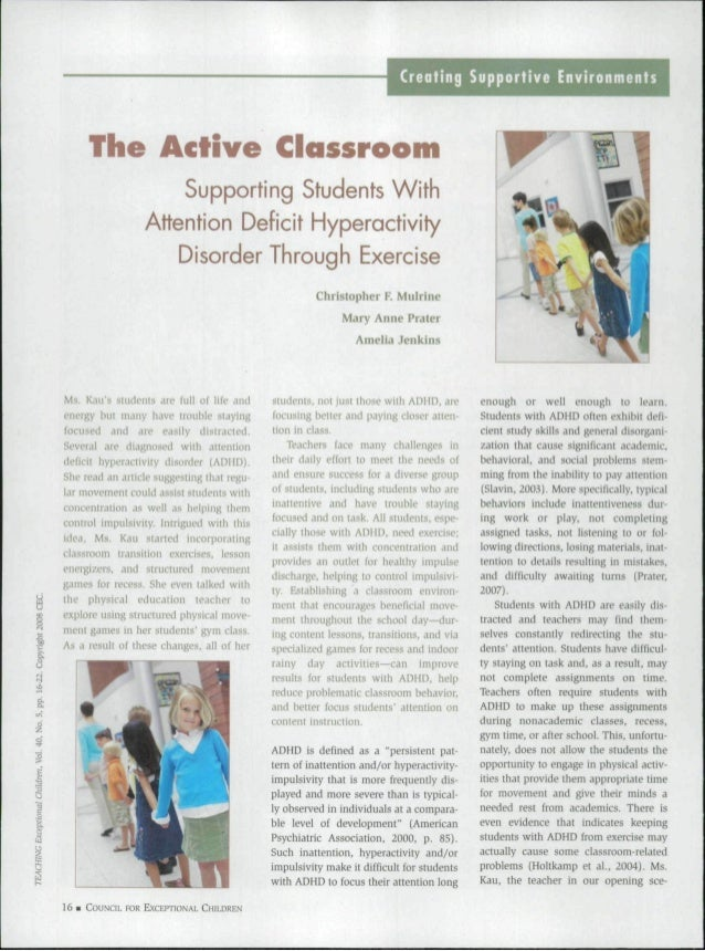 The Active Classroom Supporting Students With Attention Deficit Hyperactivity Disorder Through Exercise