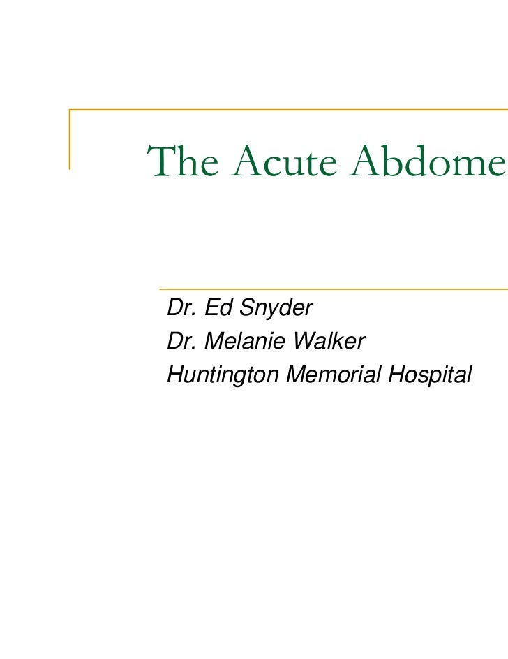 The acute abdomen dr lutuful