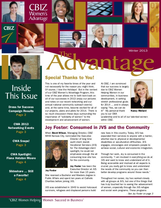 CBIZ Women's  Advantage  Winter 2013  Advantage The  Special Thanks to You!  Inside This Issue Dress for Success Campaign ...