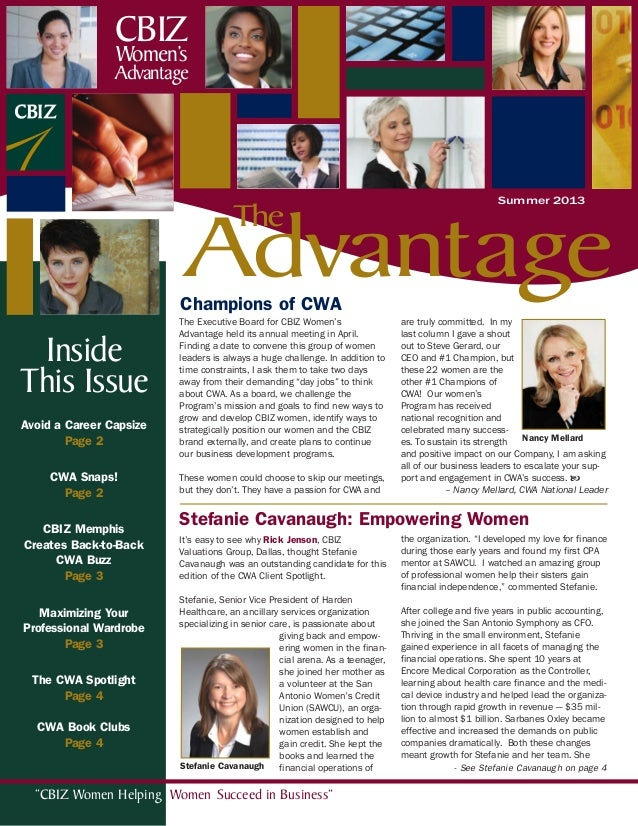 """CBIZ Women Helping Women Succeed in Business""Avoid a Career CapsizePage 2CWA Snaps!Page 2CBIZ MemphisCreates Back-to-Back..."
