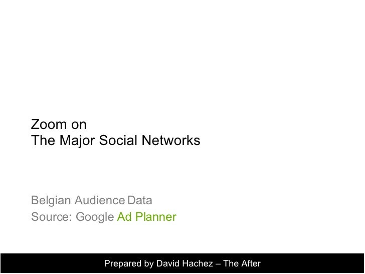 Zoom on  The Major Social Networks Belgian Audience Data Source: Google  Ad Planner