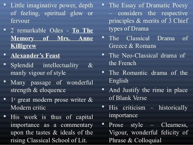 An essay of dramatic poesy summary