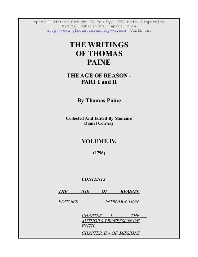 The Age of Reason, Thomas Paine, Free eBook