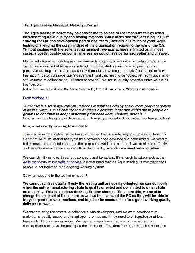 The Agile Testing Mind-Set Maturity - Part1