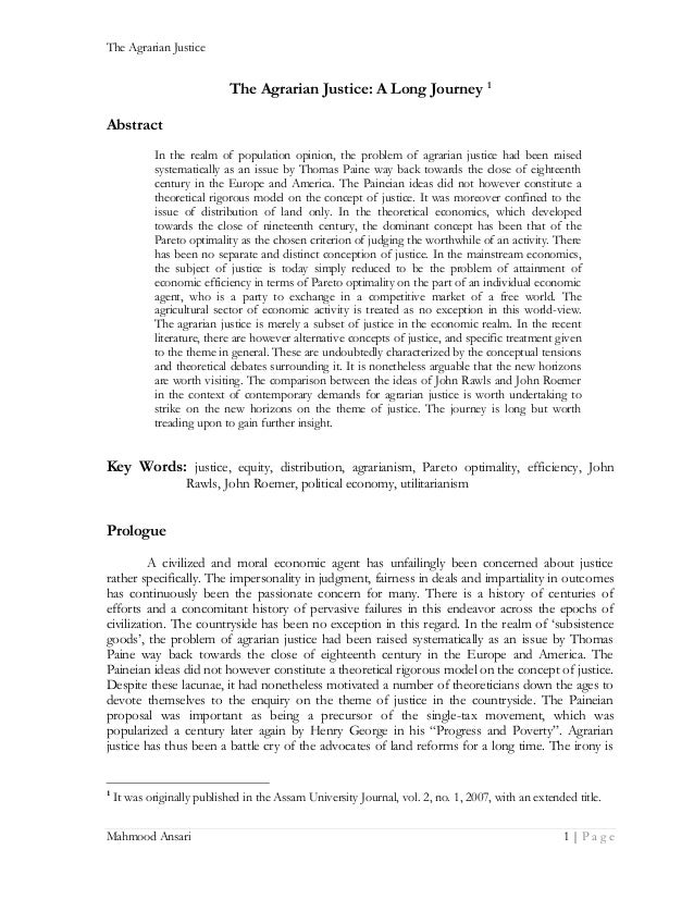 The Agrarian Justice  The Agrarian Justice: A Long Journey 1 Abstract In the realm of population opinion, the problem of a...