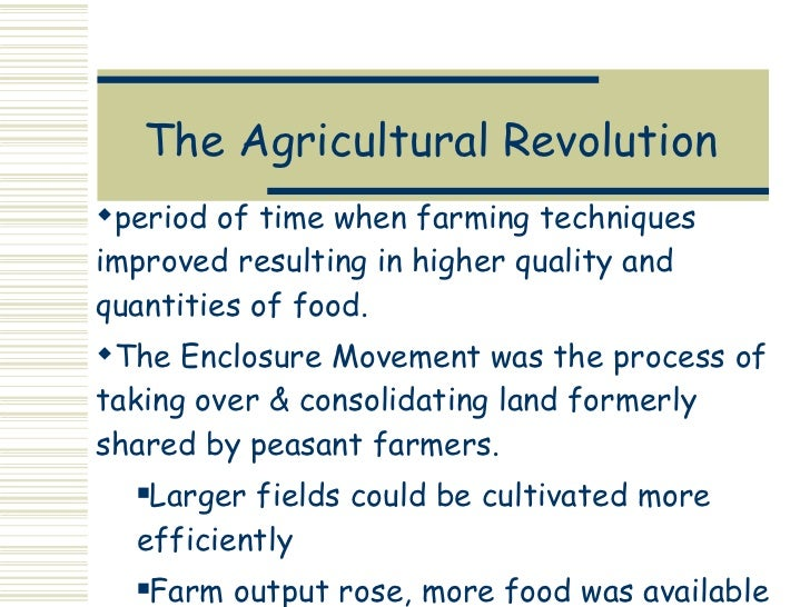 industrial agrarian revolution notes