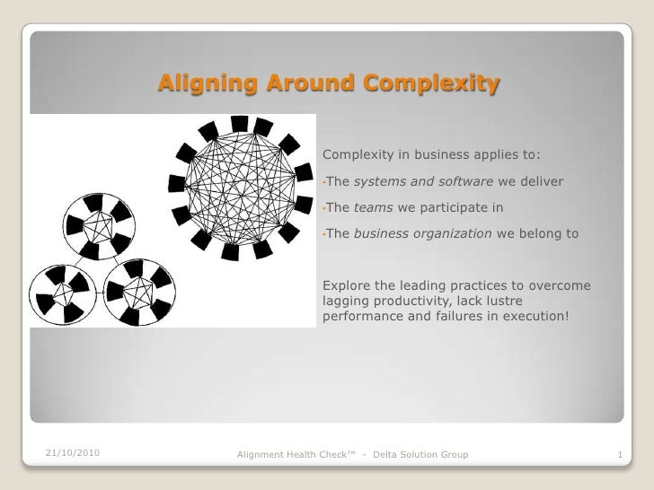 Aligning Around Complexity<br />Complexity in business applies to:<br /><ul><li>The systems and software we deliver