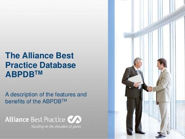 The Alliance Best Practice Benchmarking Database