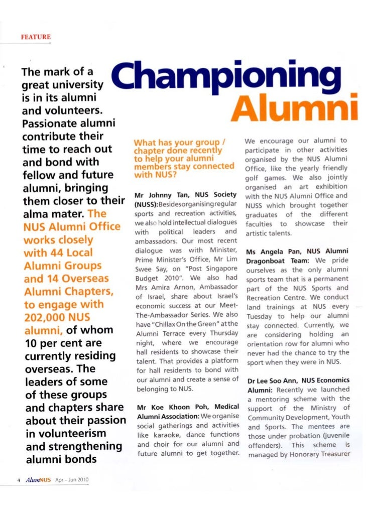 The Alum Nus -- April Issue
