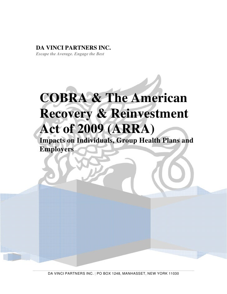 The American Recovery And Reinvestment Act Of 2009 Cobra Impacts