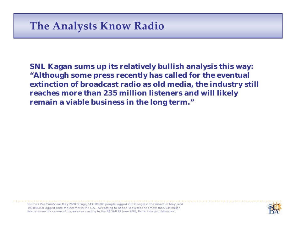 "The Analysts Know Radio    SNL Kagan sums up its relatively bullish analysis this way:  ""Although some press recently has ..."