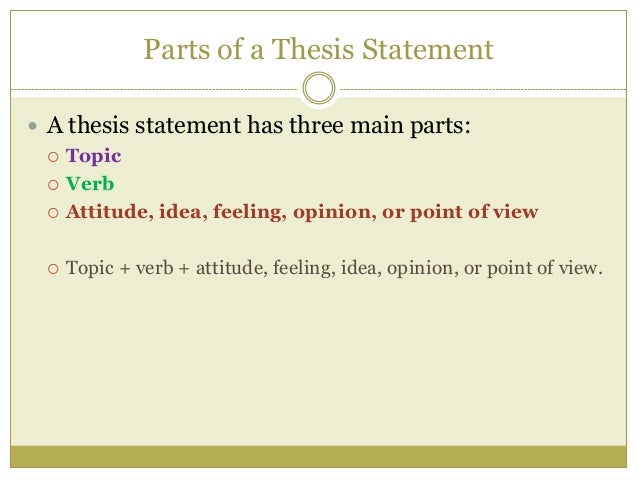 three parts of a thesis statement include