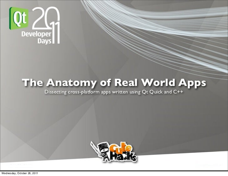 The Anatomy of Real World Apps                              Dissecting cross-platform apps written using Qt Quick and C++W...