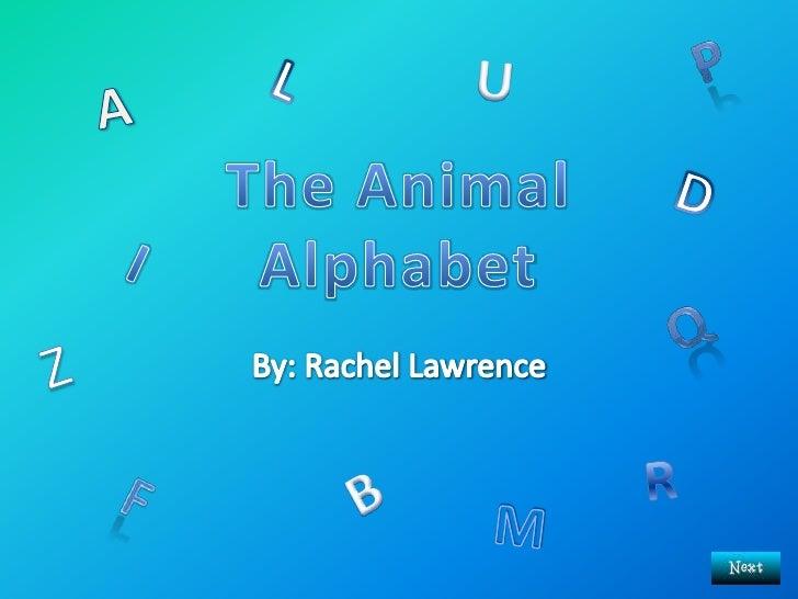 By: Rachel Lawrence<br />P<br />U<br />L<br />A<br />The AnimalAlphabet<br />D<br />I<br />Q<br />Z<br />R<br />B<br />F<b...