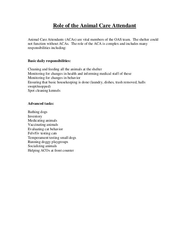 The animal care attendant's role cline2