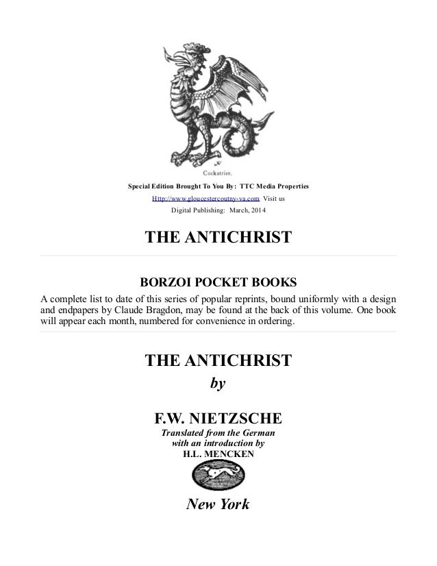 The Antichrist, By F.W. Nietzsche, Free eBook