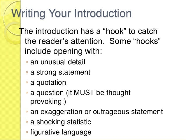 hooks for essays examples An essay hook is a good way to start an essay, because it will affect how your reader will interact with your piece as a whole if they find that your introduction is boring, it will be very difficult to convince your audience to keep reading.