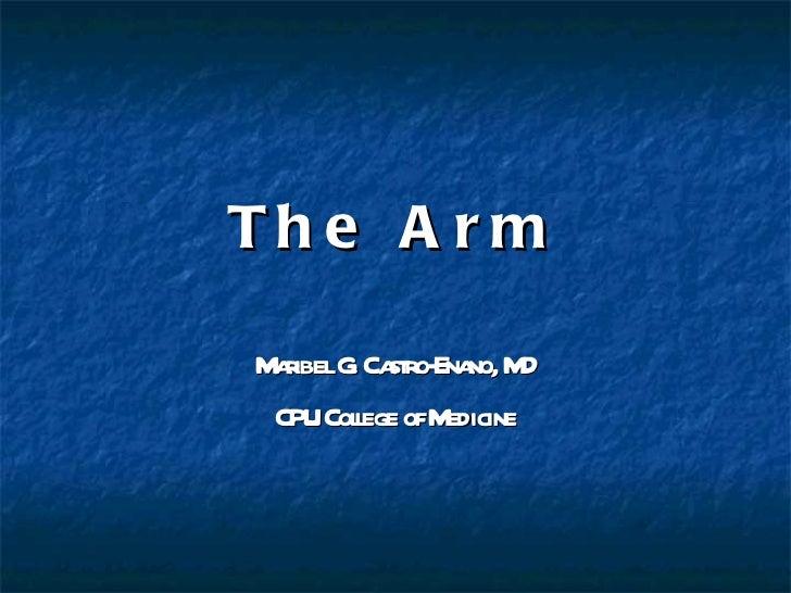 The Arm Maribel G. Castro-Enano, MD CPU College of Medicine