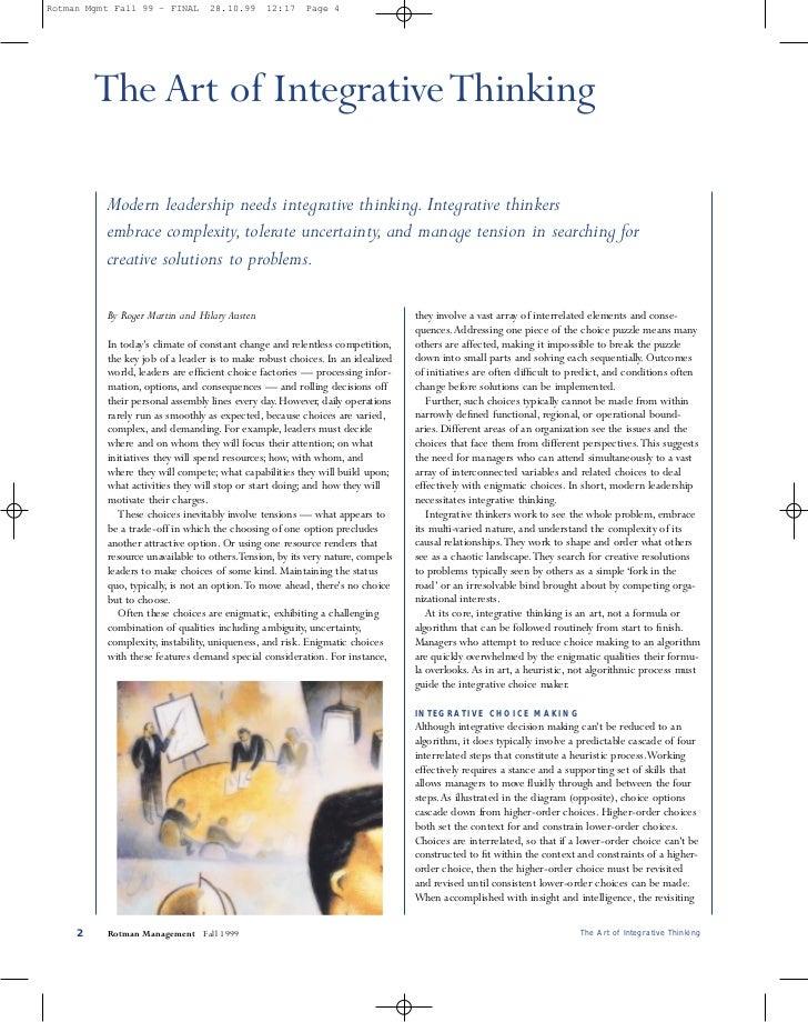 Rotman Mgmt Fall 99 - FINAL       28.10.99     12:17    Page 4         The Art of Integrative Thinking          Modern lea...