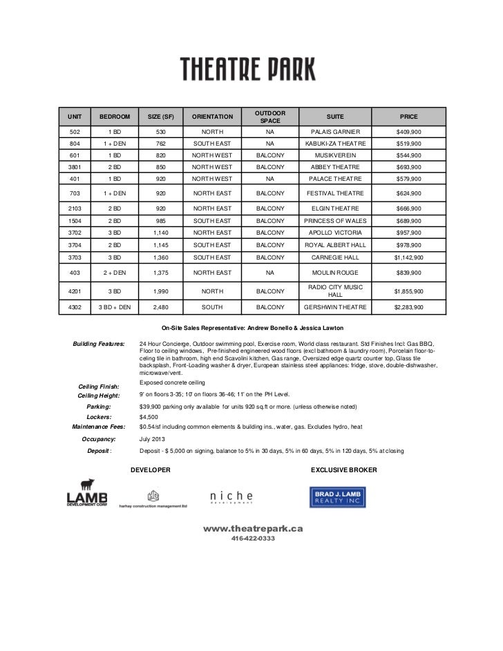Theater october 7 11 sample price list