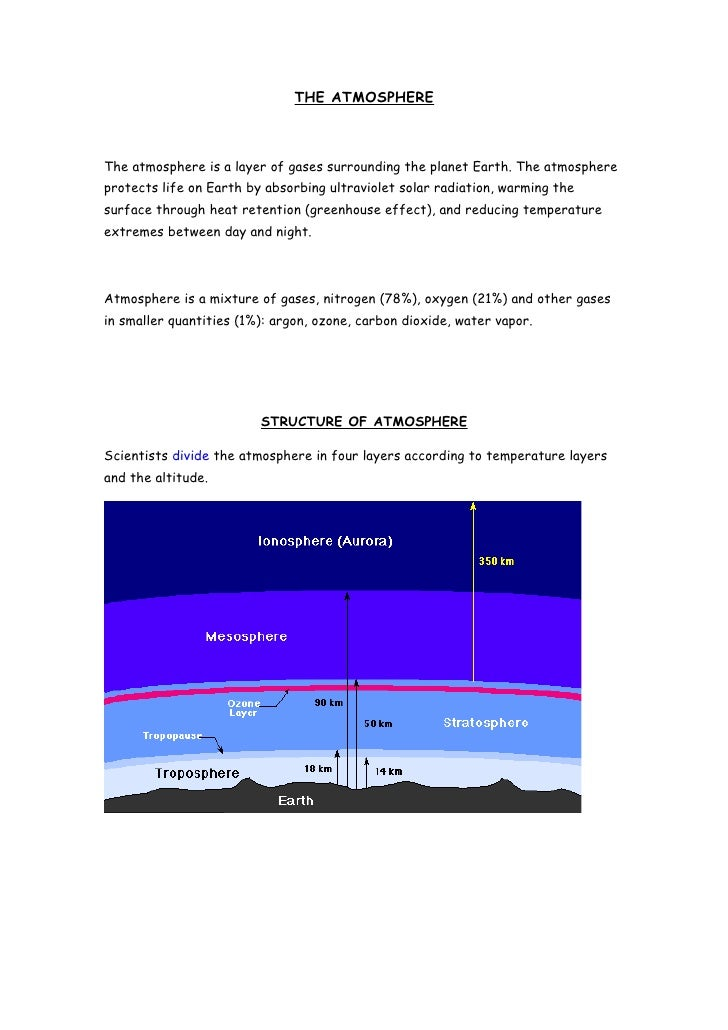 THE ATMOSPHERE    The atmosphere is a layer of gases surrounding the planet Earth. The atmosphere protects life on Earth b...