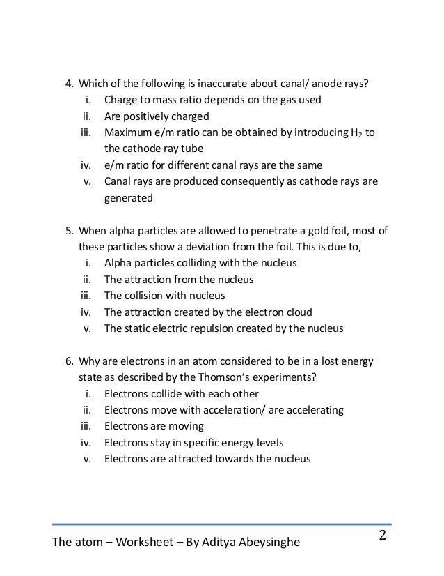 Atomic Structure Worksheet Chapter 5 In Addition Worksheet Number 1 In ...
