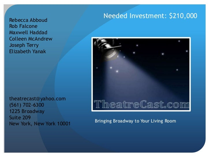 Needed Investment: $210,000<br />Rebecca Abboud<br />Rob Falcone<br />Maxwell Haddad<br />Colleen McAndrew<br />Joseph Ter...
