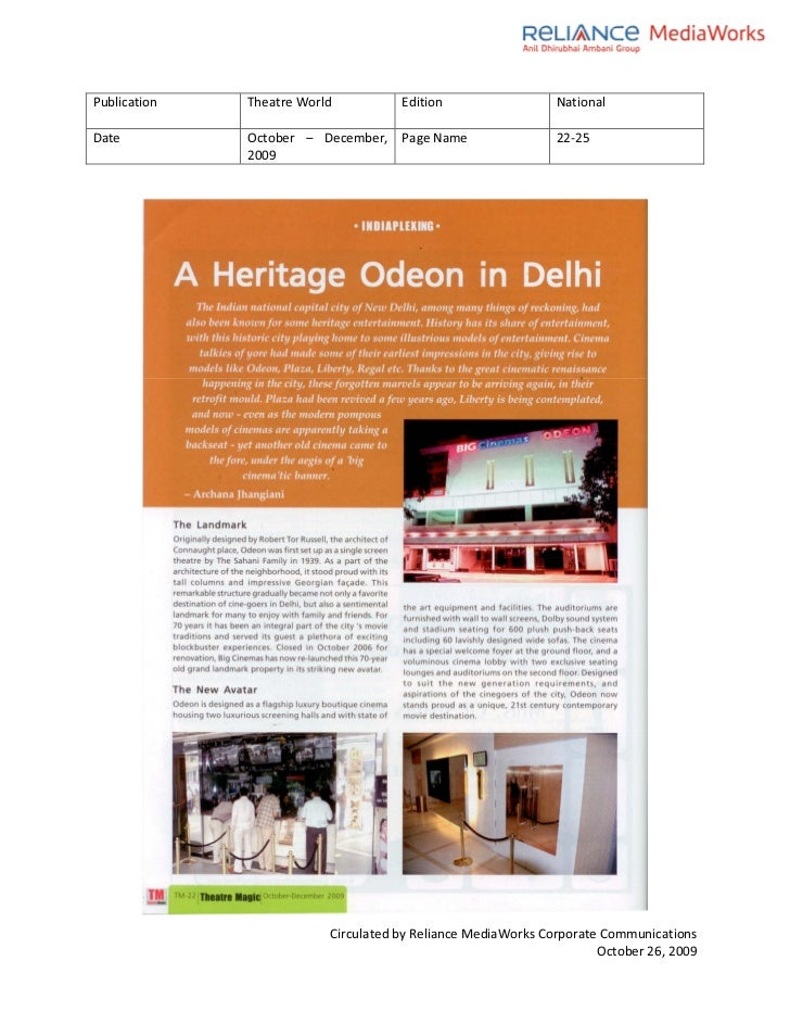 Theatre World Coverage- Oct Issue-BIG Cinemas Odeon