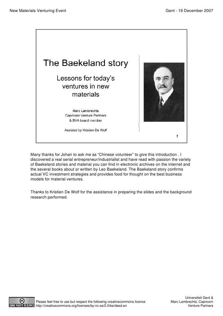 The Baekeland Story   Marc Lambrechts   New Materials Venturing Day - 2007-12