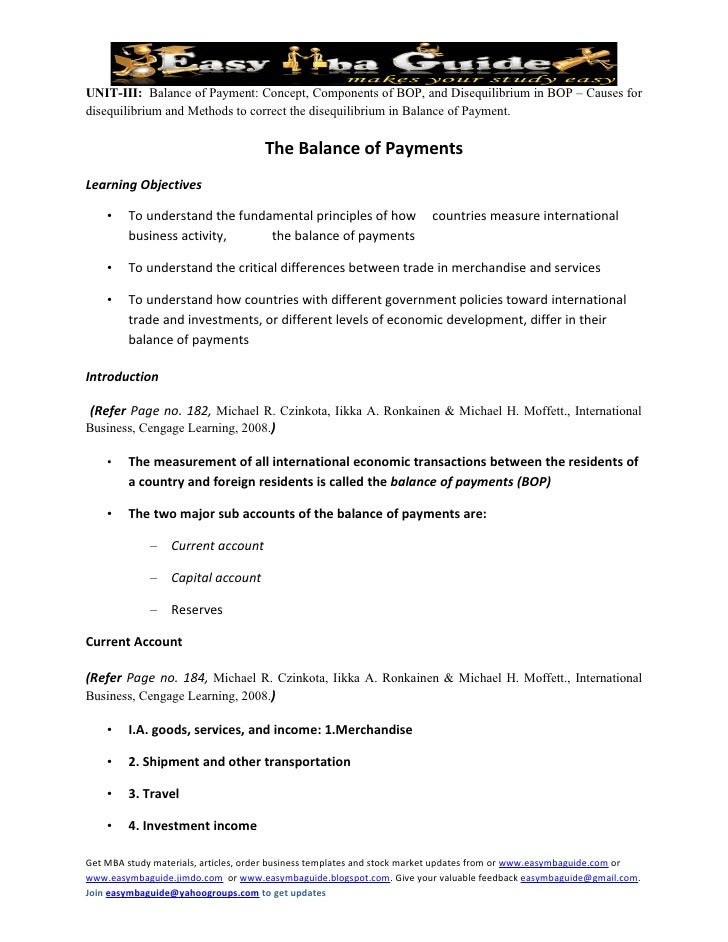 UNIT-III: Balance of Payment: Concept, Components of BOP, and Disequilibrium in BOP – Causes for disequilibrium and Method...